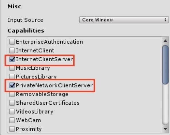 UnityでHologram230を使うときのCapabilitiesの設定画面