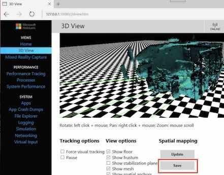 SpatialMappingのデータ保存画面