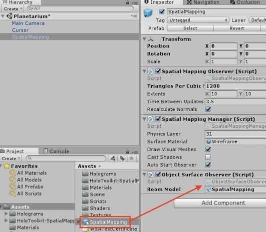 SpatialMappingオブジェクトの設定手順