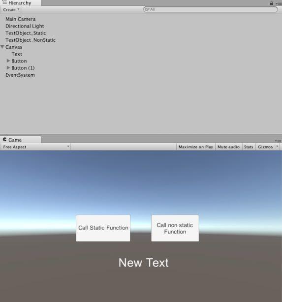 Unityで作ったAndroid native plugin用のサンプルプロジェクト画面