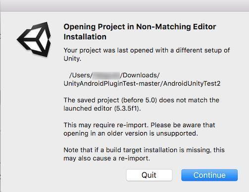 AndroidUnityTest2プロジェクトを開いたときの警告画面