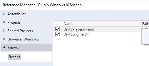 Visual StudioのReference ManagerでUnityPlayer.winmdとUnityEngine.dllを選択する画面