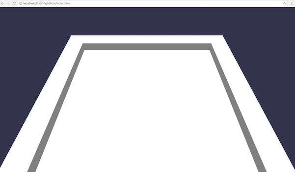BJSのMeshBuilderメソッドを使って、プールの枠を作った状態