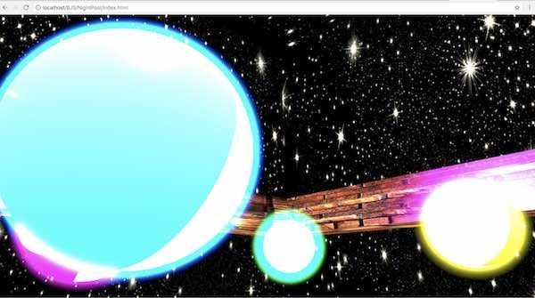 BJSのGlowLayerメソッドで光らせた球の例