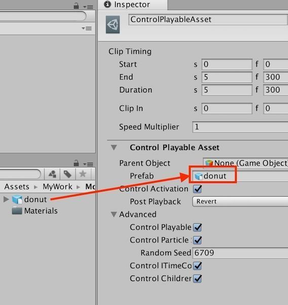 UnityタイムラインのControl Playable AssetでPrefabをドラッグ