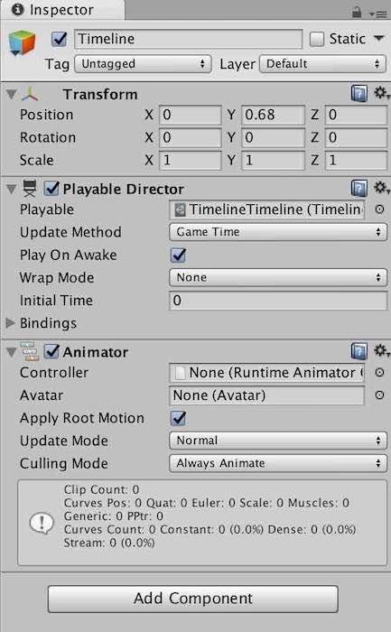Unityタイムライン機能で生成されたPlayable DirectorとAnimator コンポーネント