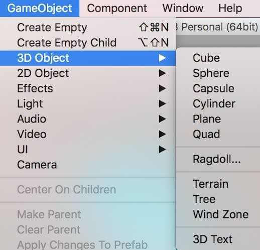 Unityの基本3Dモデル