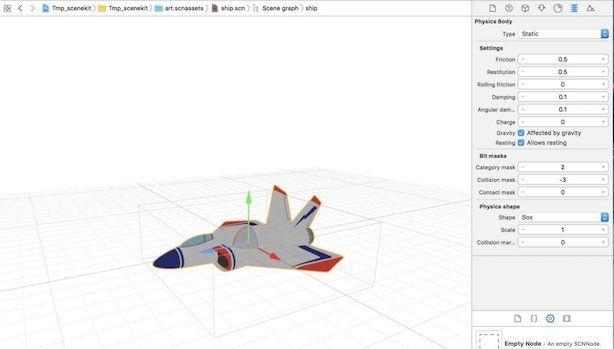 XCodeでSceneKitを開いた例