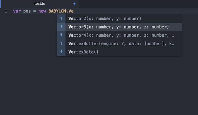 Atomエディタを使ってBabylon.jsのコード補完をした例