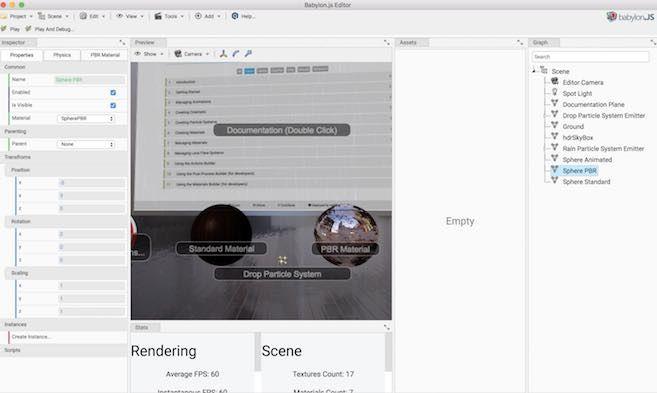 BabylonJS EditorのMacアプリを実行した画面