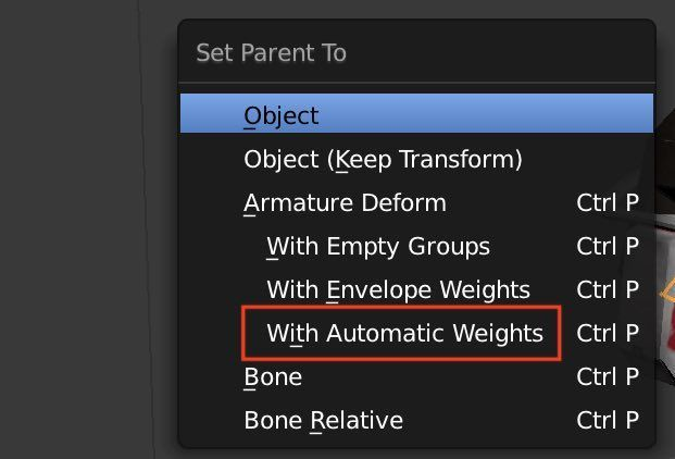 BlenderのWith Automatic Weights設定画面