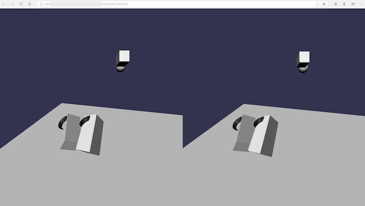 Babylon.jsのVRサンプルを動かしたときのモーションコントローラの形