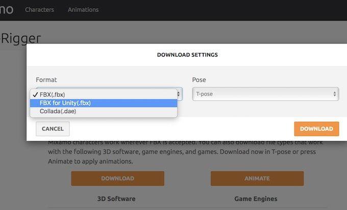MixamoからUnity向けfbxでダウンロードする設定画面