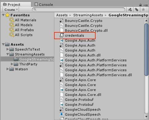 UnityのAssets/StreamingAssets/GoogleStreamingSpeechToTextProgramの場所