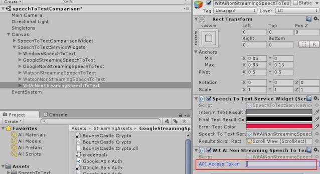 UnityのCanvas/ SpeechToTextServiceWidgets/ WitAiNonStreamingSpeechToTextのコンポーネント画面