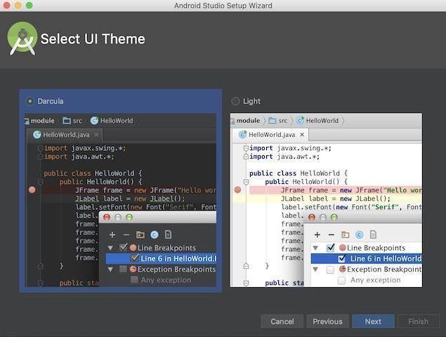 Android Studio 3.2.1の初期設定でテーマ色を変更する画面