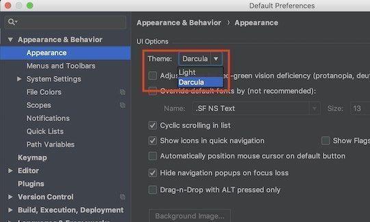 Android Studio 3.2.1の設定画面でテーマの色を変更するときの画面