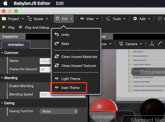 Babylon.js EditorをDark Themeに変更するためのボタン配置場所