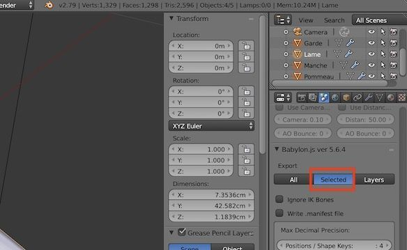 BlenderのBabylon.js Exporterの設定画面