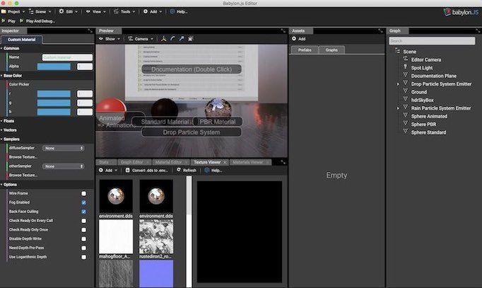 Babylon.js Editorの最初の画面