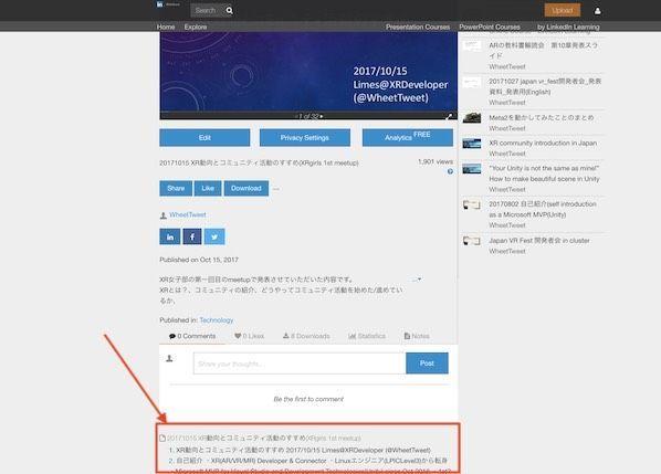 SlideShareのアウトライン表示箇所