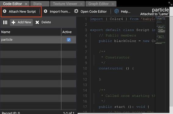 Babylon.js EditorのCode EditorのAdd New Scriptボタン位置
