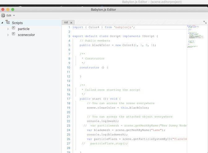Babylon.js EditorのCode Editor画面