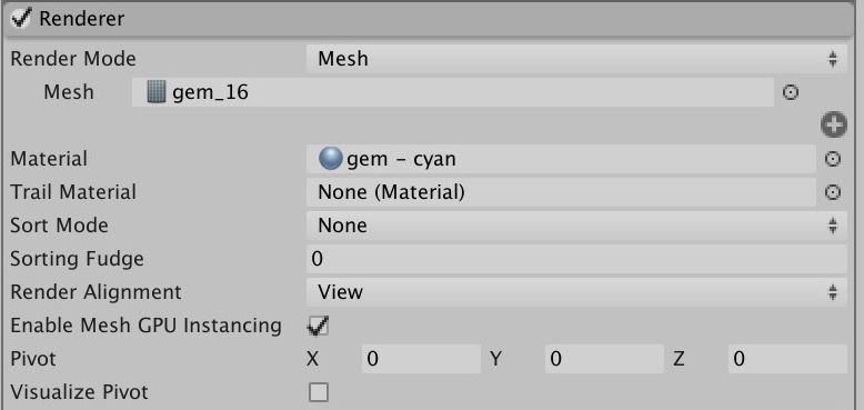 Renderer mesh setting in particle system on Unity