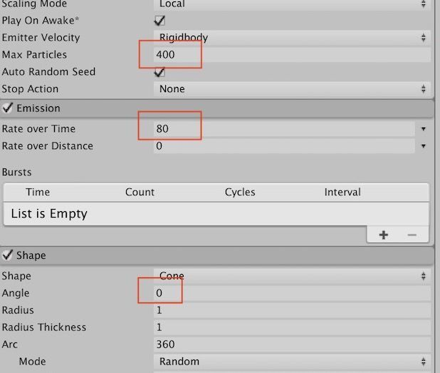 Emission setting in particle system on Unity