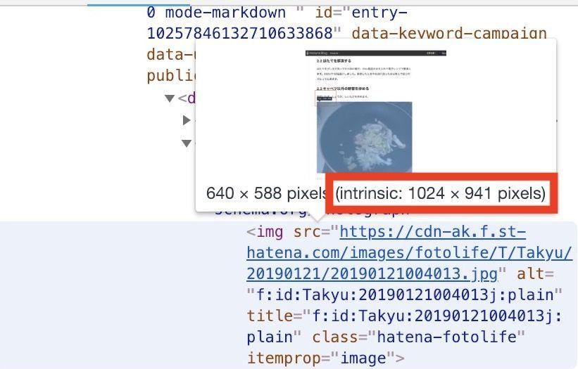 はてなブログの写真を投稿機能でリサイズされた画像の例