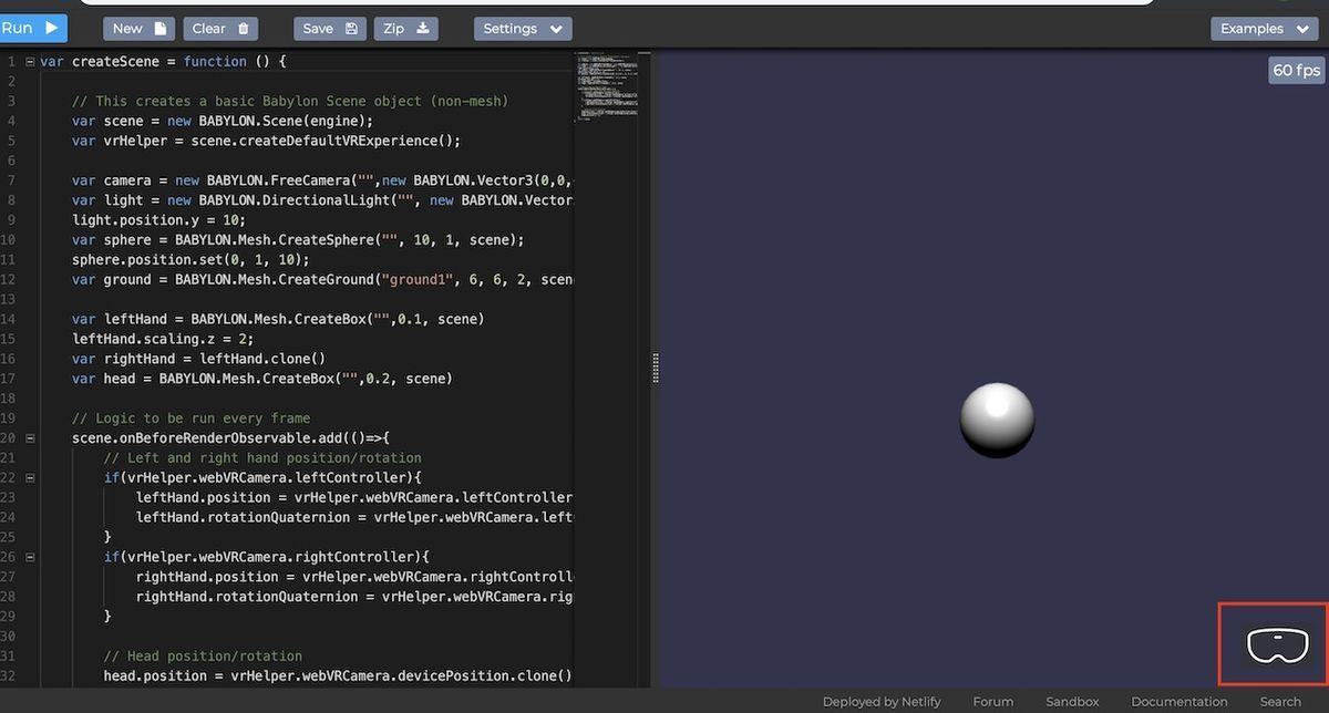 Babylon.jsのWebVRサンプル画面のVRモードボタン