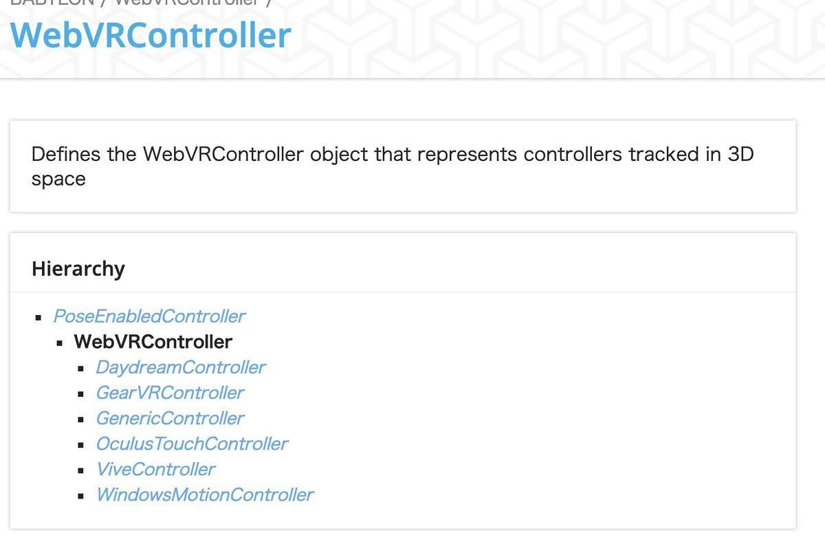 WebVRController sub class of Babylon.js