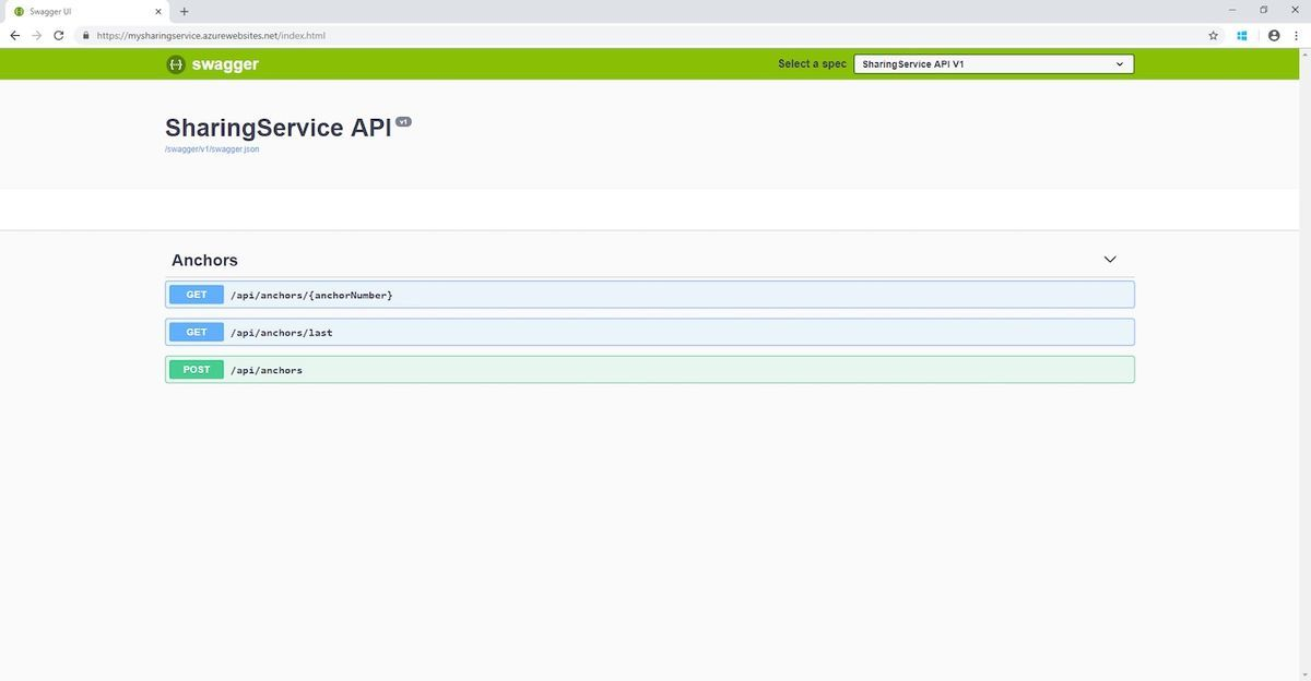 Screenshot of appService is completed