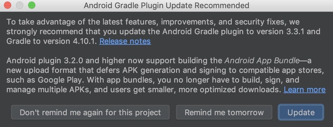 Android Gradle Plugin Update Recommended
