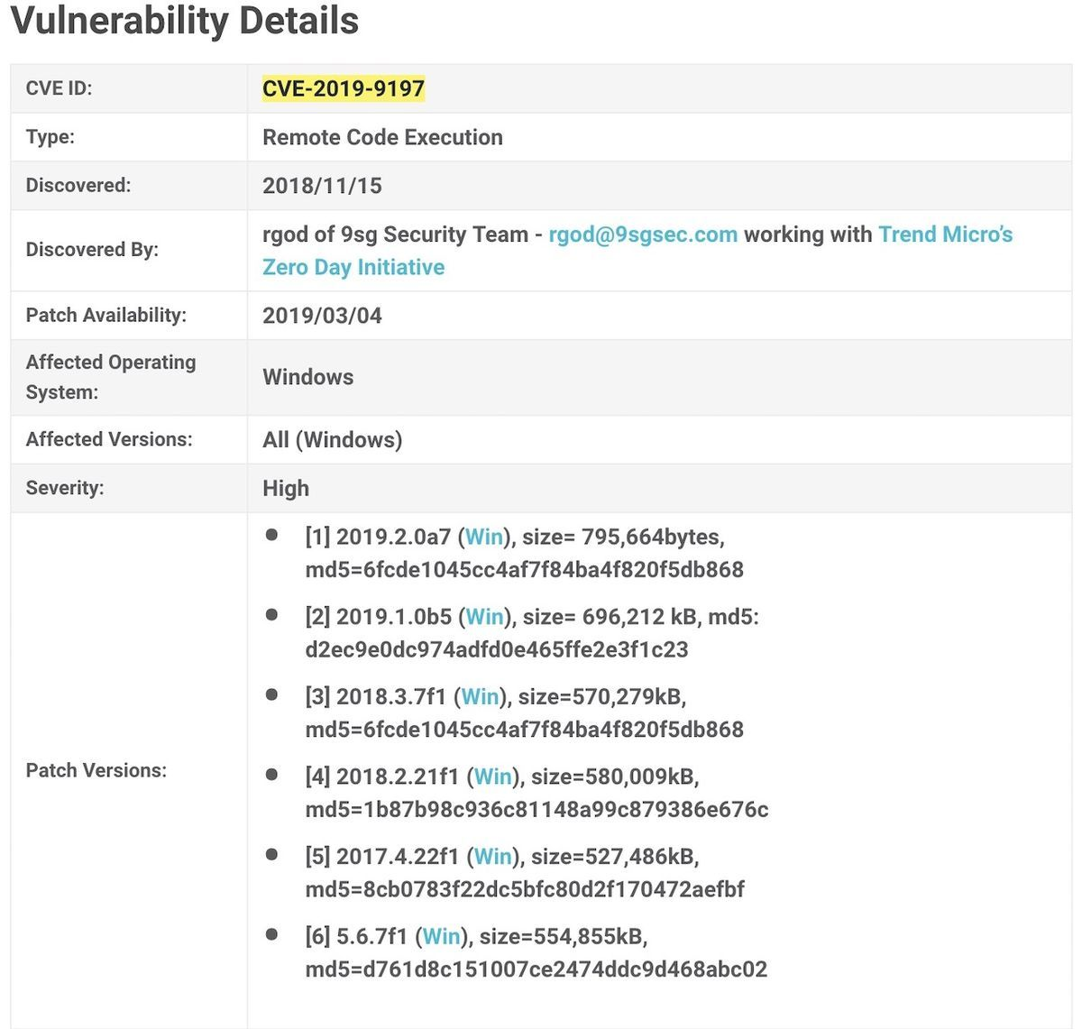 Unity patch installer of CVE-2019-9197