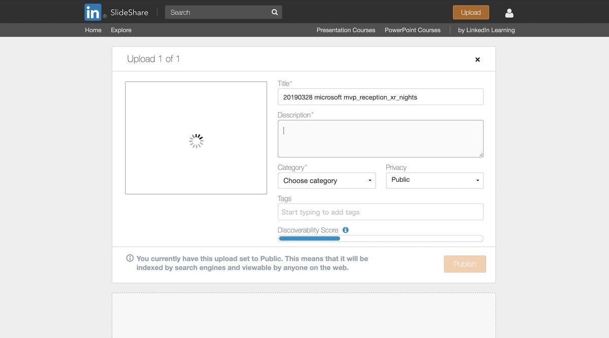 uploading is not completed in slideshare