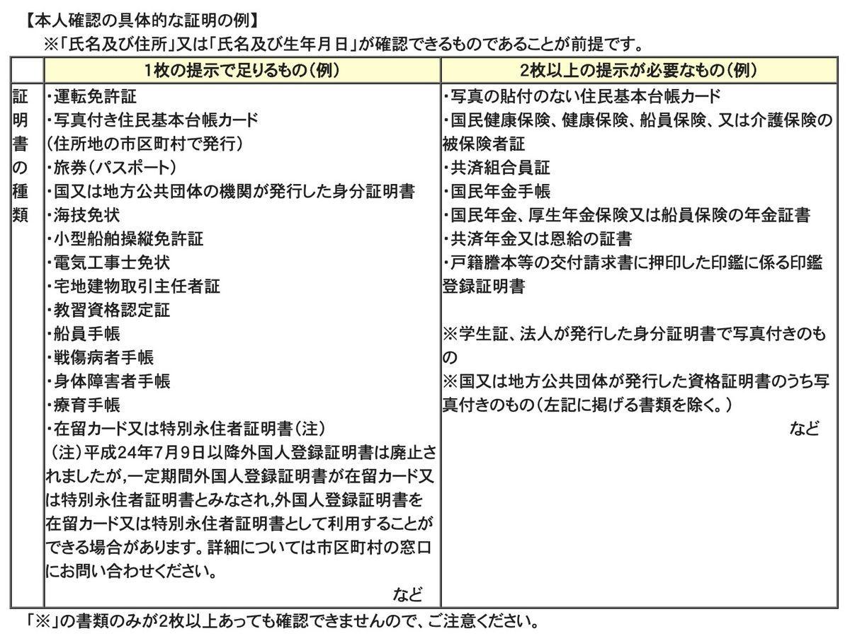 法務省HPで定義されている戸籍謄本取得時の本人確認書類の例