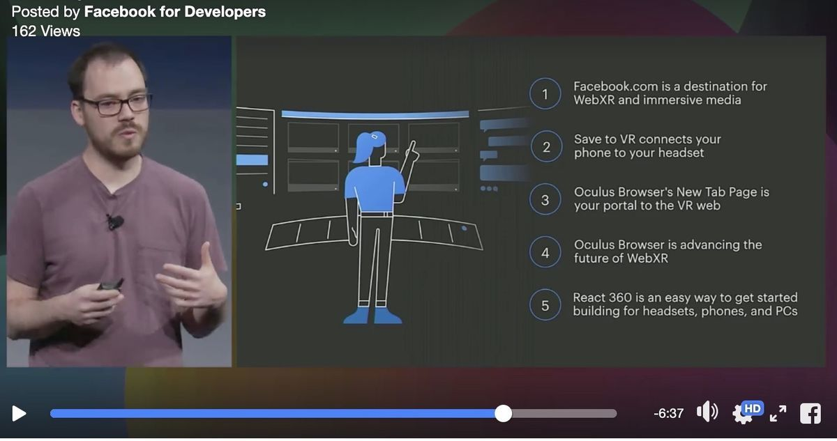 Summary slide of Unlocking the Future of WebXR in F82019