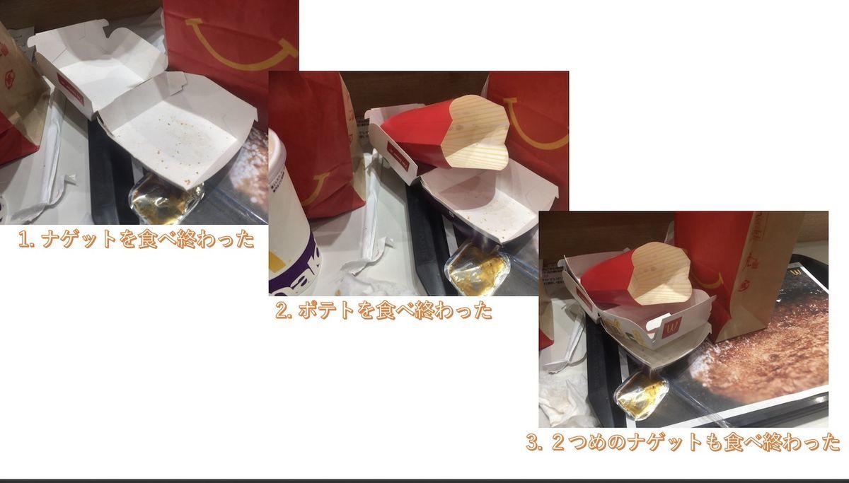 マクドナルドで食べたあとのゴミのまとめ方例