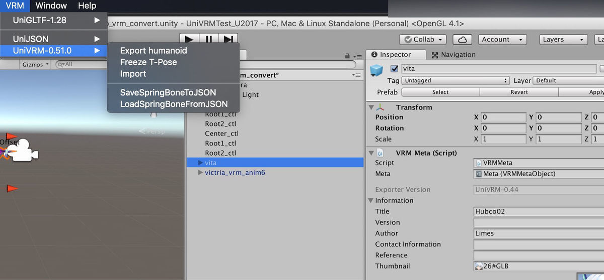 Exporting humanoid button with vrm format files