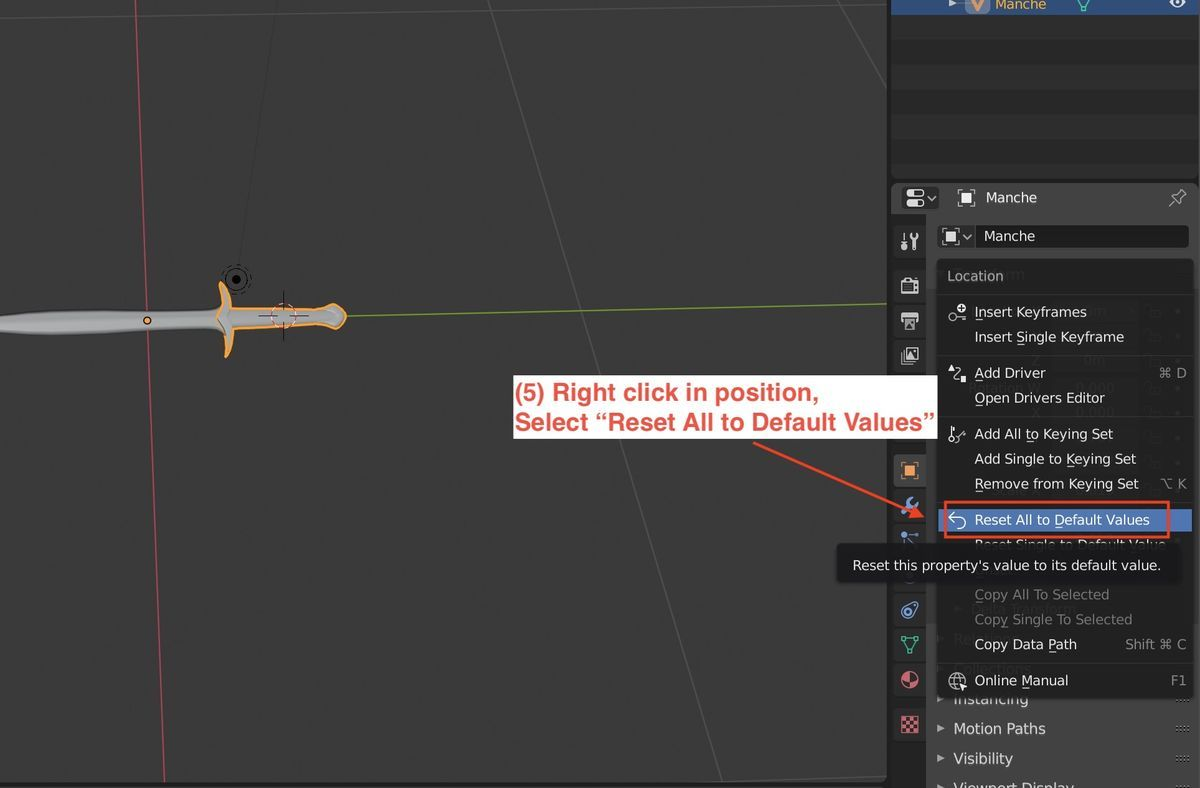 How to change origin of 3DCG object in Blender 2.80 3