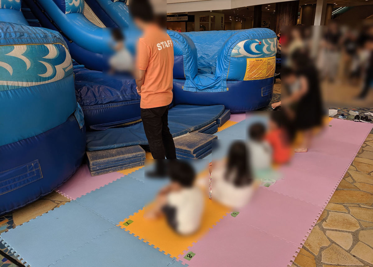 Wait zone of air slider and room at Aqua City Odaiba