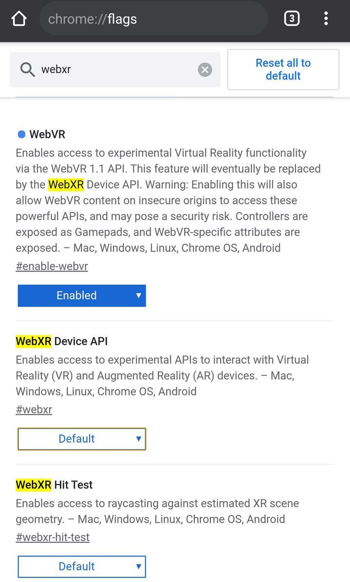 webxr status of chrome 76 in Android10