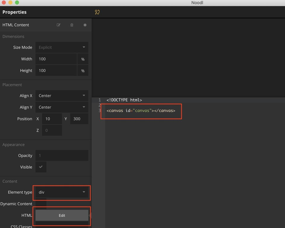 Properties of HTML Content node on Noodl
