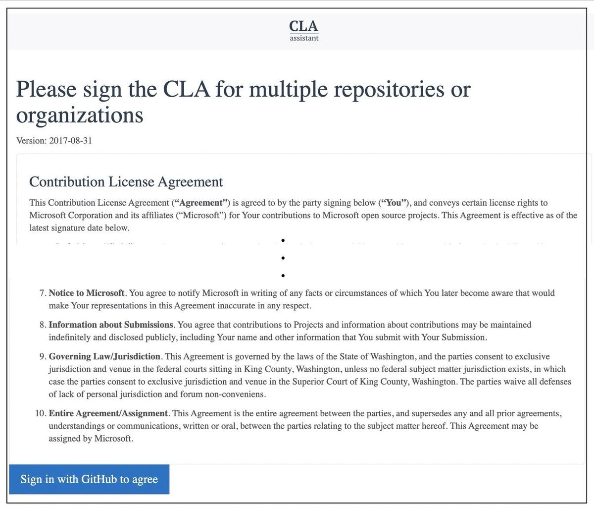 Part of Contribution  License Agreement