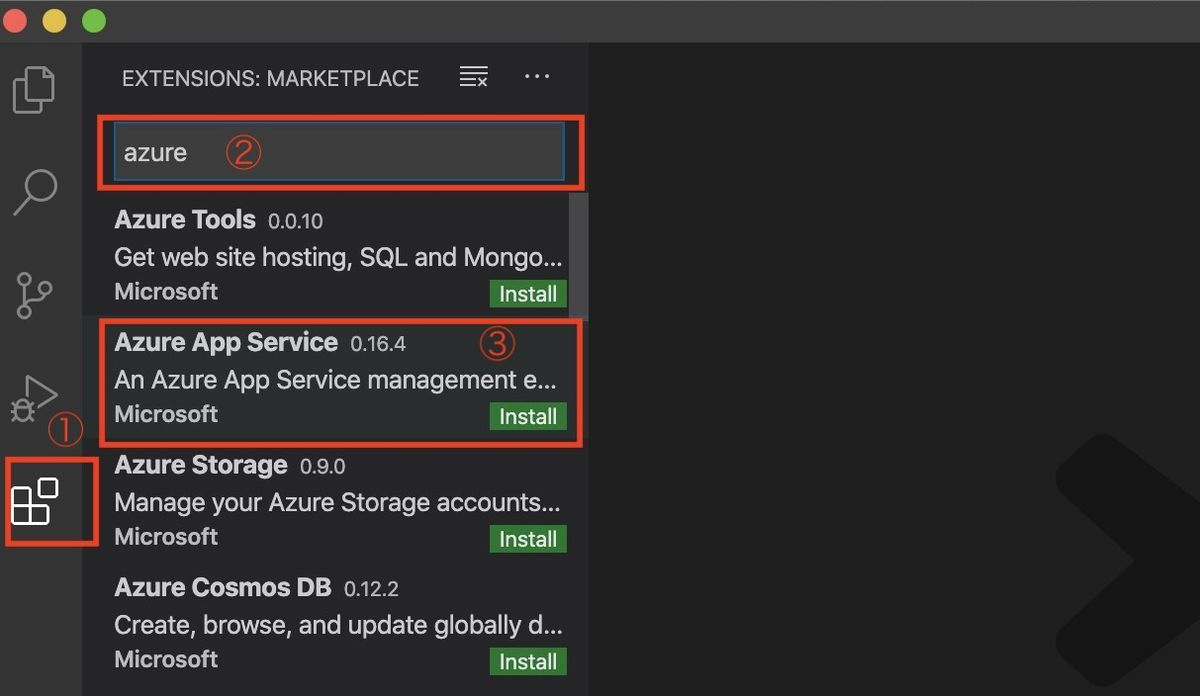 Select Azure App Service on VSCode