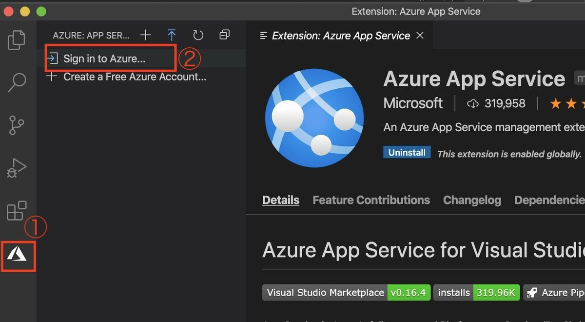 Login to Azure on VSCode
