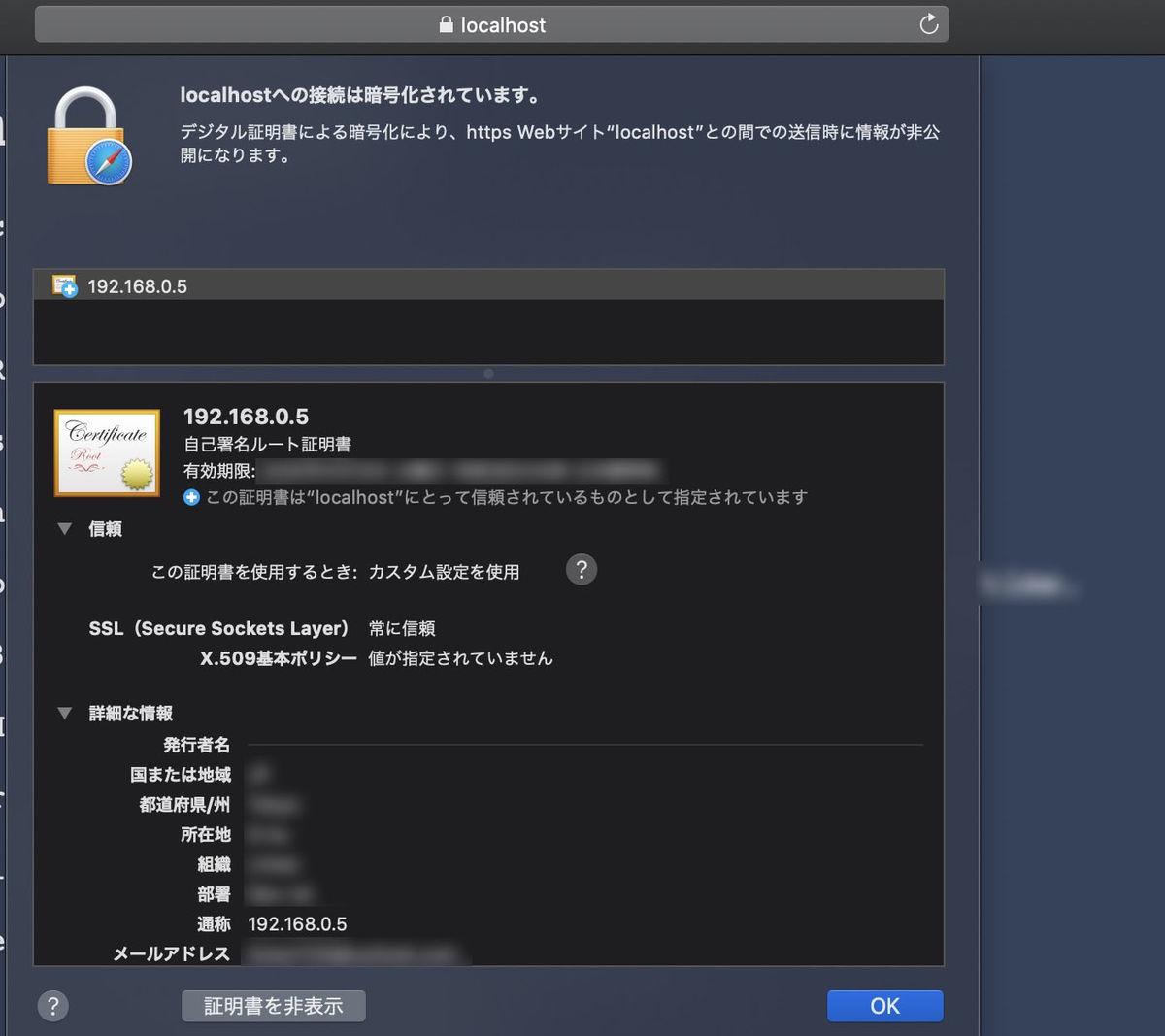 Self certified https site on Safari