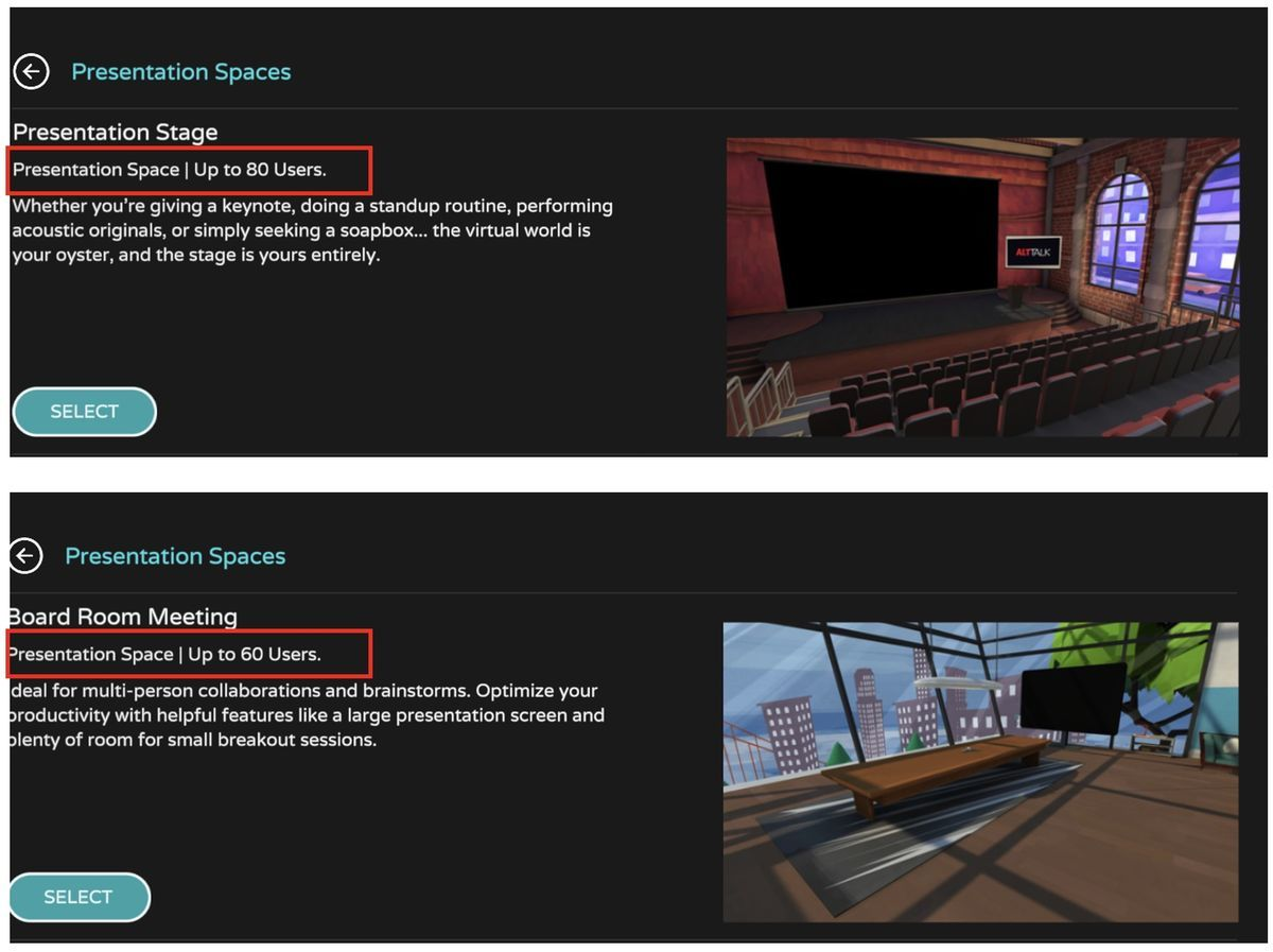Presentation space on AltspaceVR