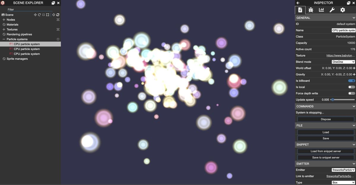 fireworks effect by babylonjs particle editor